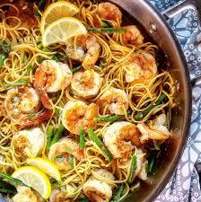 lemon garlic shrimp pasta lite