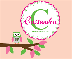 Custom Monogram Wall Decals Nursery With Owl Wall Decor For Girls Rooms