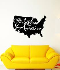 Vinyl Wall Decal Map Of America Patriotic Quote God Bless America Stic Wallstickers4you