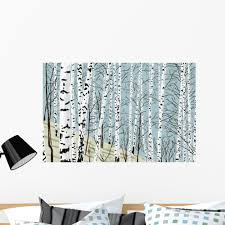 Amazon Com Wallmonkeys Fot 82103387 36 Wm66544 Birchwood In The Spring Peel And Stick Wall Decals 36 In W X 23 In H Large Home Kitchen