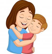 cartoon happy mother hugging her son