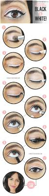 eye makeup for black and white dress