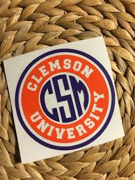 Clemson University Monogrammed Vinyl Decal Yeti Decal Car Etsy