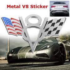 Metal V8 Emblem Badge American Flag Car Trunk Sticker Decal For Ford Chevrolet Walmart Canada