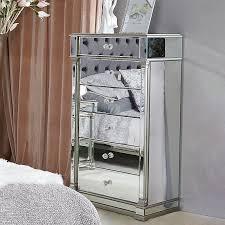 athens silver mirrored 6 drawer tallboy
