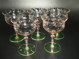 pink green depression glass etched