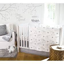 Levtex Baby Elephant Parade Crib Bed Set Baby Nursery Set Grey And White Embroidered Elephants 5