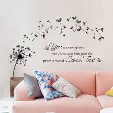 Amazon Com Decalmile Dandelion Wall Stickers Quotes Inspirational Letters Wall Decals Living Room Bedroom Wall Decor Furniture Decor
