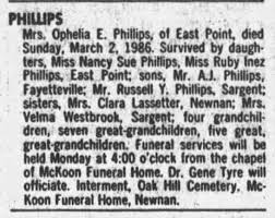 Ophelia Eugenia Smith Funeral Notice - Newspapers.com