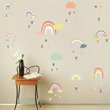 Amazon Com Iarttop Colorful Rain Rainbows Wall Decal Raindrop Wall Sticker Rainbow Wall Sticker For Kids Room Decor Diy Mural Art Home Decoration Home Kitchen