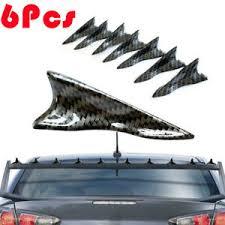 6pcs Universal Carbon Fiber Car Shark Fin Wing Roof Spoiler Kit Vortex Generator Ebay