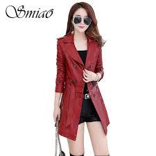 smiao female leather pu jacket pu faux