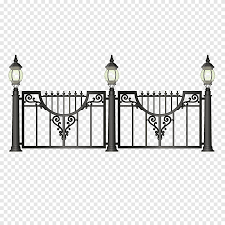 Black Gate With Lamppost Illustration Street Light Fence Lantern Retro Iron Bar Fence Angle Electronics Png Pngegg