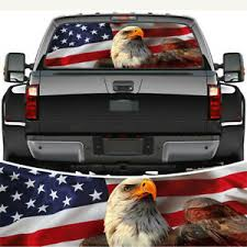 American Flag Eagle Rear Window Windshield Graphic Decal Wrap Back For Pickup Ebay