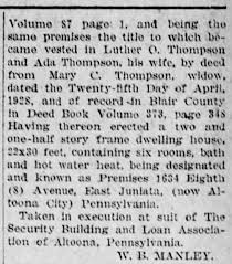 1929 Mary C Thompson deeds house to Luther and Ada Thompson pt2 ...