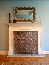 faux fireplace with tin tile