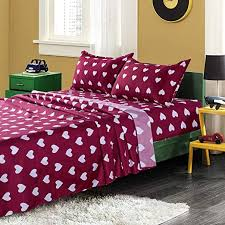 Amazon Com Kfz Love Heart Printed Twin Sheets Set Red Color Love Themed Heart 3 Piece Bed Set With 1 Fitted Sheet 1 Flat Sheet 1 Pillowcase Soft Egyptian Quality For Kids Adults Teens