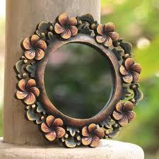round fl wall mirror hand carved