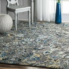 abstract area rug in grey blue yellow