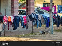 Street Washing Line On Image Photo Free Trial Bigstock