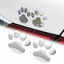 2pcs Car Sticker Cool Design Paw 3d Animal Dog Cat Bear Foot Prints Footprint Decal Car Stickers Auto Accessories Car Tax Disc Holders Aliexpress