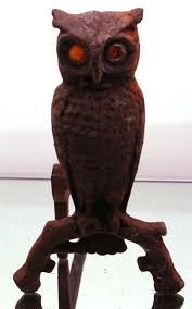 antique cast iron owl fireplace andiron