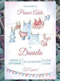 20 Invitacion Cumpleanos Primer Ano Baby Shower 480 00 En