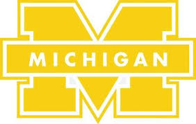 1 University Of Michigan 18 X 12 Vinyl Decal Wolverines Go Blue Maize Ebay