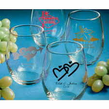 personalized wine glass favors stemless