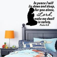 Christian Home Decor Wall Decal Bible Scripture Psalm 4 8 Boy Jeyfel