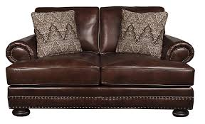 leather sofa with nailhead trim and