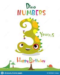 Numero 3 Bajo La Forma De Dinosaurio Ilustracion Del Vector