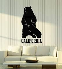 Amazon Com Large Vinyl Wall Decal California Map State Grizzly Bear Symbol Art Decor Stickers Mural Ig5245 Home Kitchen