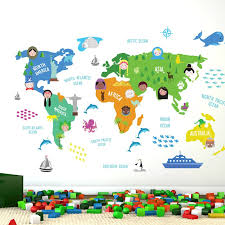 Ebern Designs Nursery World Map Wall Decal Reviews Wayfair