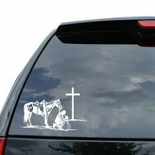 Cowboy And Horse Praying At Cross Car Truck Window Laptop Decal Sticker 8x5 1 Auto Parts And Vehicles Other Car Truck Decals Stickers Magenta Cl