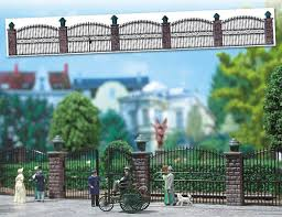 Busch Ornamental Fence With Brick Pillars 6016 Gmodel Miniatures