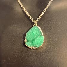 gem pendant necklace gold plated