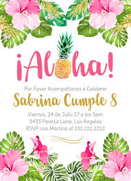 Feliz Cumpleanos Invitacion Cumpleanos Nina Aloha Hawaii Flores