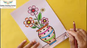 flower drawing in a vase how to draw a