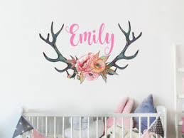 Girl Name Rustic Wall Stickers Deer Antlers Nursery Decor Rustic Flowers Ps23 Ebay