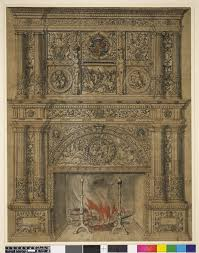 fireplace with two columns on either