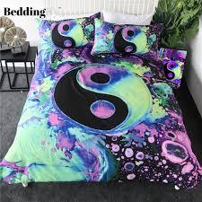 watercolor bubbles yin yang bedding set