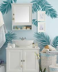 Amazon Com Simple Shapes Palm Leaves Wall Decal Teal Home Kitchen