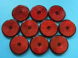 10 X Red 60mm Reflectors For Driveway Gate Fence Posts Trailer Horsebox Ebay