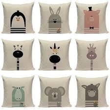 Cute Animal Cartoon Nursery Kids Room Cushion Covers Tiptophomedecor