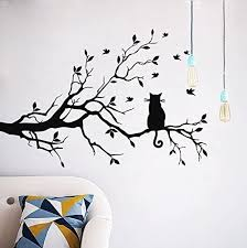 Amazon Com Cugbo Cat On Long Tree Branch Wall Decal Cat Window Art Sticker Removable Diy Vinyl Rooms Home Decor Black Home Kitchen