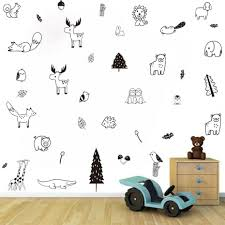 Nordic Jungle Animal Wall Sticker Forest Tribal Kids Room Wall Decals Cartoon For Sale Online