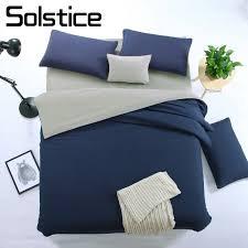 solid navy blue gray bedding set