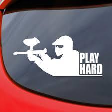 Paintball Play Hard Car Decal Vinyl Sticker Window Etsy