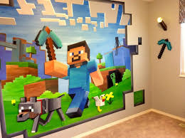 14ft X 8ft Custom Minecraft Mural Minecraft Bedroom Minecraft Room Boys Room Mural